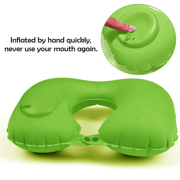 Kawachi easy to blow inflatable travel neck pillow (mouth blowing not needed) for picnic,air travel K496-Green