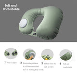 Kawachi easy to blow inflatable travel neck pillow (mouth blowing not needed) for picnic,air travel K496-Grey