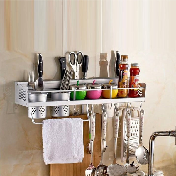 Kawachi Space Aluminum Kitchen Rack Cooking Tools Holder Spice Rack 40cm with 2 Cups  K505