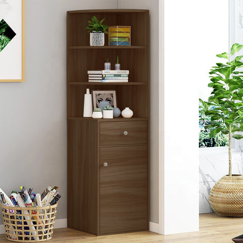 Kawachi Wooden Multipurpose Corner Wall Decor Cabinet Bookshelf Rack With Drawer Storage K559-Brown