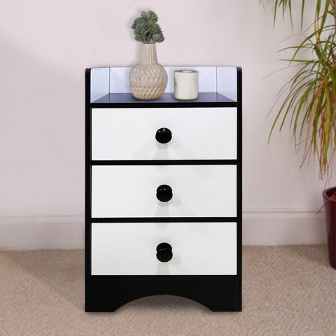 Kawachi Modern Home Bedroom Bedside Table Storage Cabinet with 3 Drawers KW23-Black