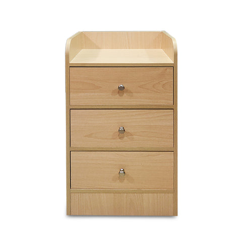 Kawachi Modern Home Bedroom Bedside Table Storage Cabinet with 3 Drawers Beige BD
