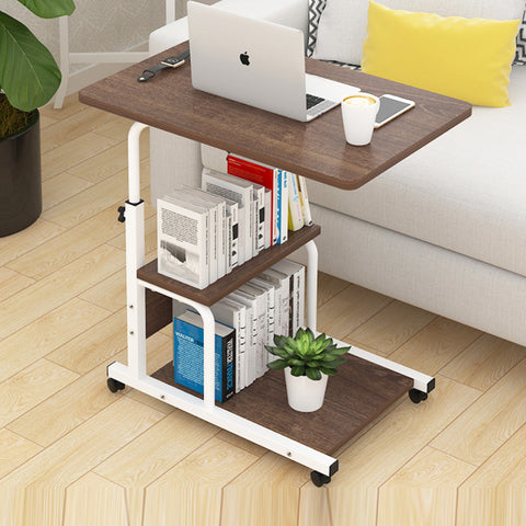 Kawachi Multipurpose  Portable Foldable Hight Adjustable Studying Desk Bedside Table with Bookshelf Storage KW29