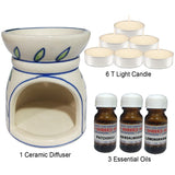 Kawachi Ceramic Aroma Diffuser With 6 pcs Candle and 3 Btl Oil - M17
