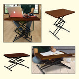 Kawachi Height Adjustable Folding Portable Multipurpose Coffee, Laptop Study Table Desk Brown - M33