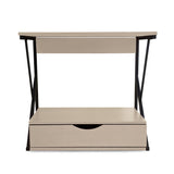Kawachi 2 Tier Kitchen Counter Shelf Microwave Stand Storage Spice Rack with Drawer KW18-Beige