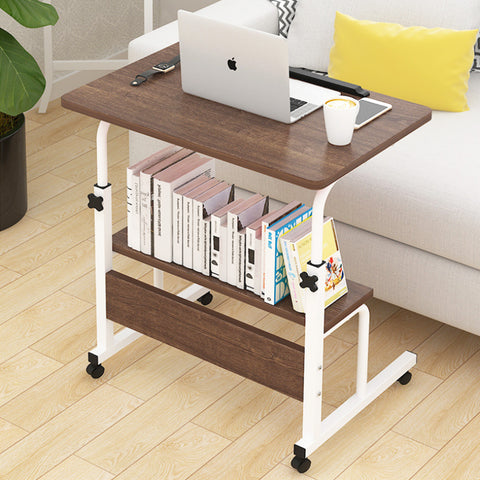 Kawachi Multipurpose Portable Height Adjustable Studying Bedside Table Bookshelf Storage KW28-Brown