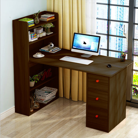 Kawachi Compact Computer Laptop Desk Study Table with 4 Shelves Storage 3 Drawers KW12-Brown