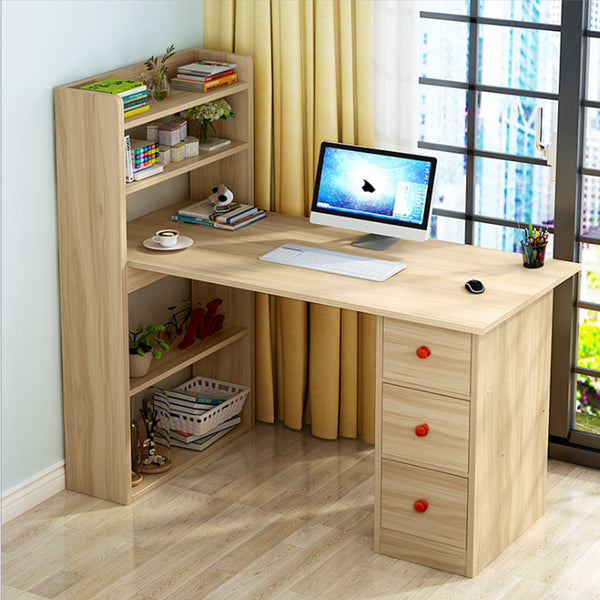 Kawachi Compact Computer Laptop Desk Study Table with 4 Shelves Storage 3 Drawers KW13-Beige