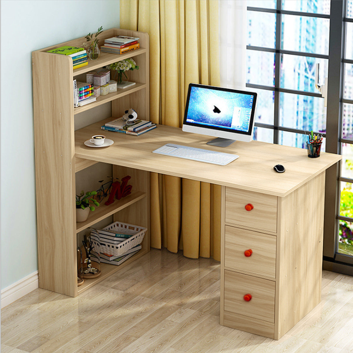 Image of: Kawachigroup Com Kawachi Compact Computer Laptop Desk Study Table With 4 Shelves Storage 3 Drawers Kw13 Beige