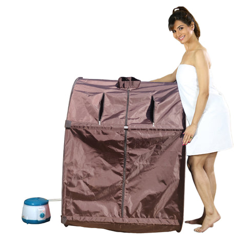 Kawachi Portable Steam Sauna Bath for Health and Beauty Spa at Home Chocolate Brown