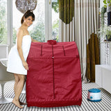 Kawachi Portable Steam Sauna Bath for Health and Beauty Spa at Home Reddish Maroon