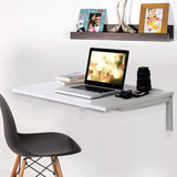 Kawachi Wall Mounted Folding Dining Table with Easy Foldable Study Laptop Computer Desk KW09-White