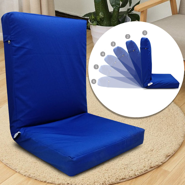 Kawachi Adjustable Back Support Relax Recliner Floor Chair Sofa with Cushion (Blue, Standard Size)