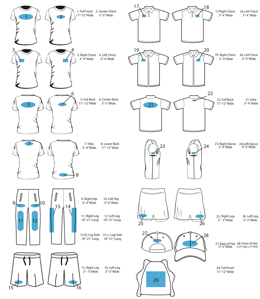 Logo placement guide bangaprint for Tee shirt logo placement