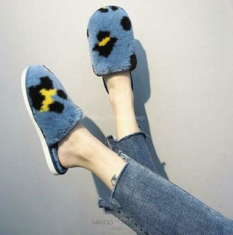 Furry Leopard Print Slippers - Blue Plush Slippers Mango People International