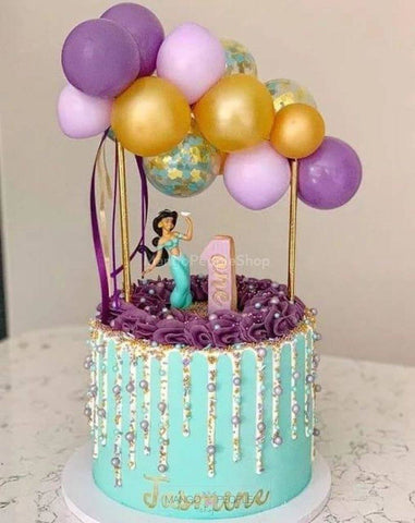 Purple-Green Mermaid Confetti Balloon Cake Topper