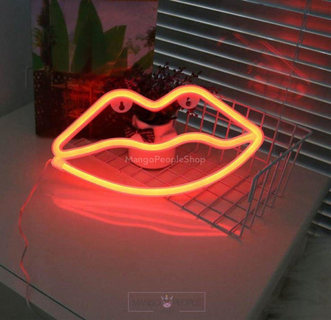 Red Bombshell Lips Neon Light Table Lamps Mango People International