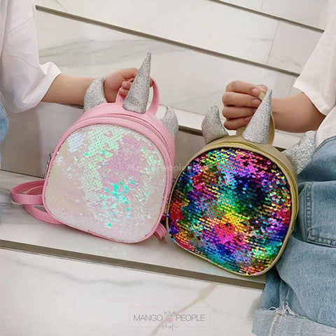 Sequin Unicorn Horn Backpack Bag