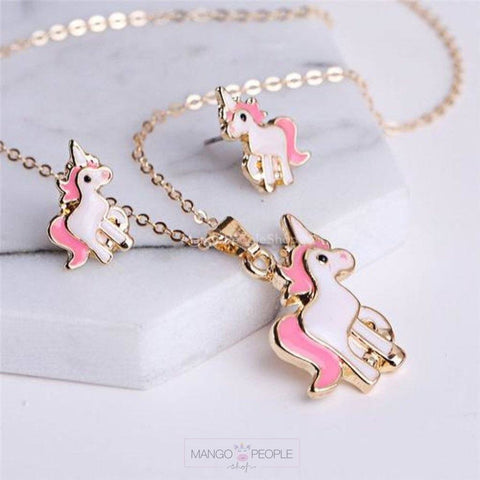 Unicorn Pendant And Earrings Set Accessories