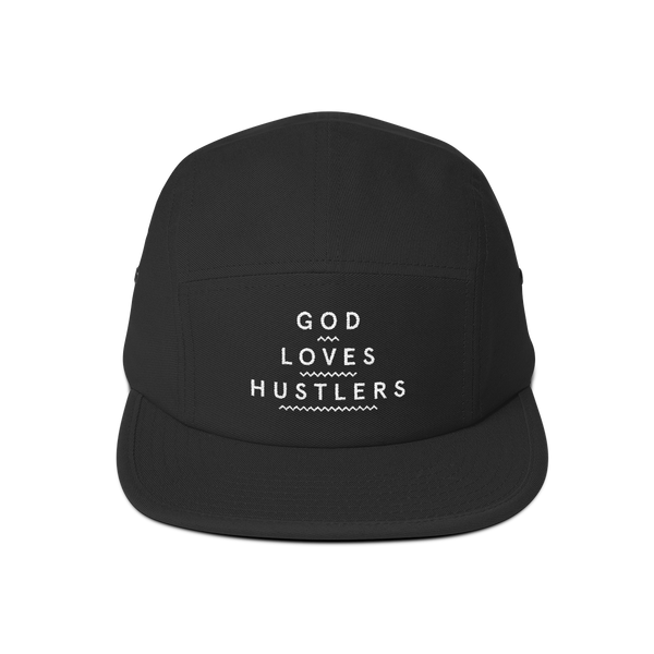 God Loves Hustlers—Five Panel Cap (1 color embroidery), , King Lario King Lario