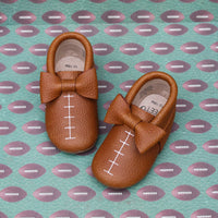 Football BOWS - Brown and WHITE stitching