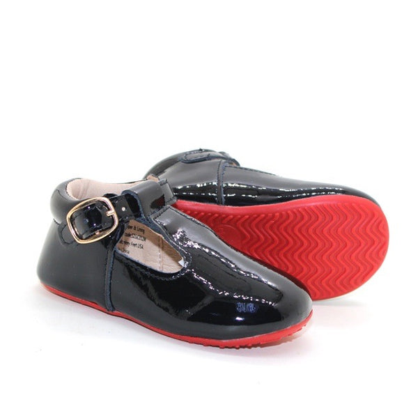 Red Bottom T-Straps - Black Patent Leather