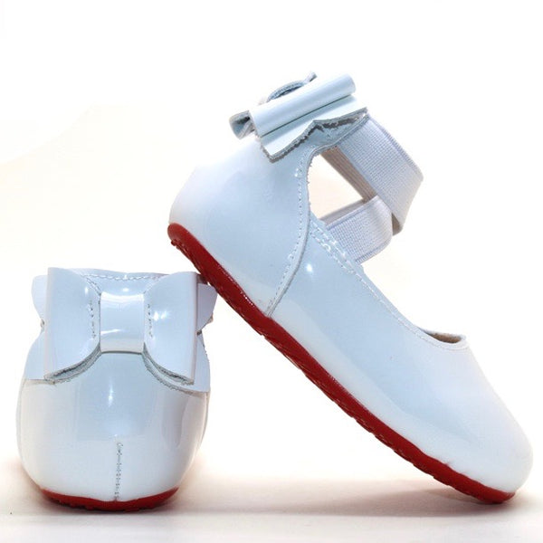 Red Bottom Bow Back Flats - White Patent Leather