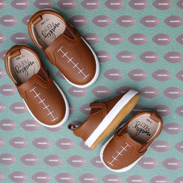 Football SLIDES - BROWN with WHITE stitching