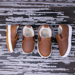 Fleece Lined Slides - Weathered Brown