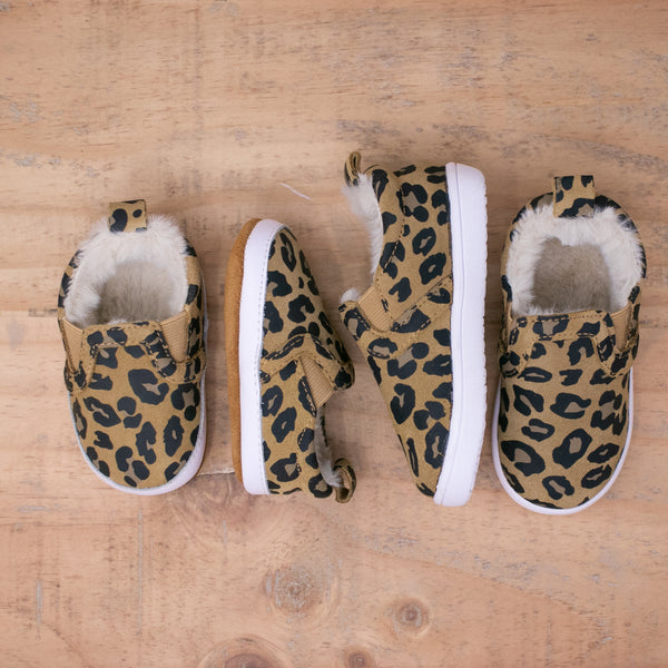 Fleece Lined Slides - Leopard