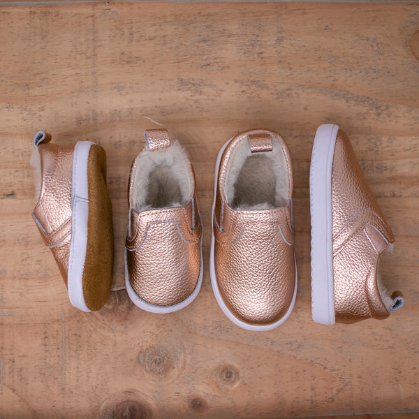 Fleece Lined Slides - Rose Gold