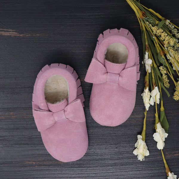 Fleece Lined Bow Moccs -  Blush Suede