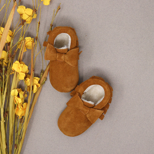 Fleece Lined Bow Moccs - Rust Suede