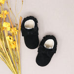 Fleece Lined Bow Moccs - Black Suede