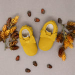 Fleece Lined Bow Moccs -  Mustard Suede