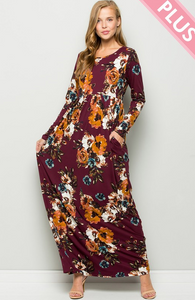 Plus Falling For You Maxi (Burgundy)