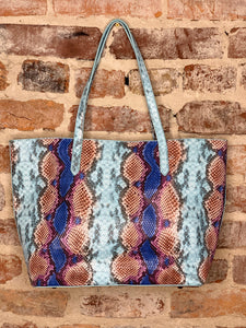 Zoey Tote with Snap Closure (Snake Multi)