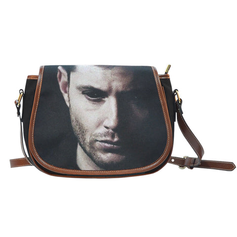 Dean's Black Leather Trim Saddle Bag