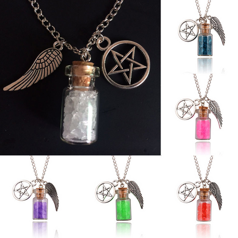 Angel Wing, Salt Bottle & Pentagram Necklace