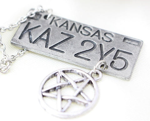 Amulet - Dean's Kansas KAZ 2Y5 Impala License Plate Number Necklace