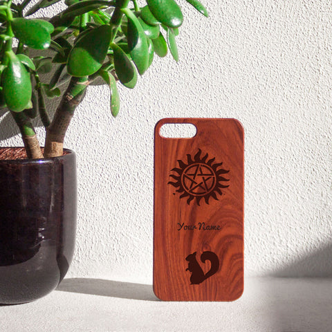 """Your Name"" SPN Wooden iPhone Case"