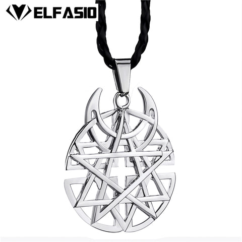 "Big Star Moon Pentagram Mens Womens Pewter Pendant with 24"" Necklace Fashion Jewelry"
