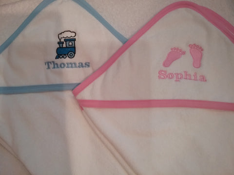 Hooded baby towel pink blue or lemon edging