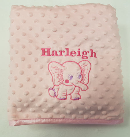 Personalised bubble blanket embroidered with the elephant