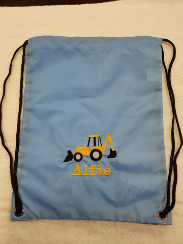 Digger drawstring bag with a name gymsac swim pe swim nursery bag