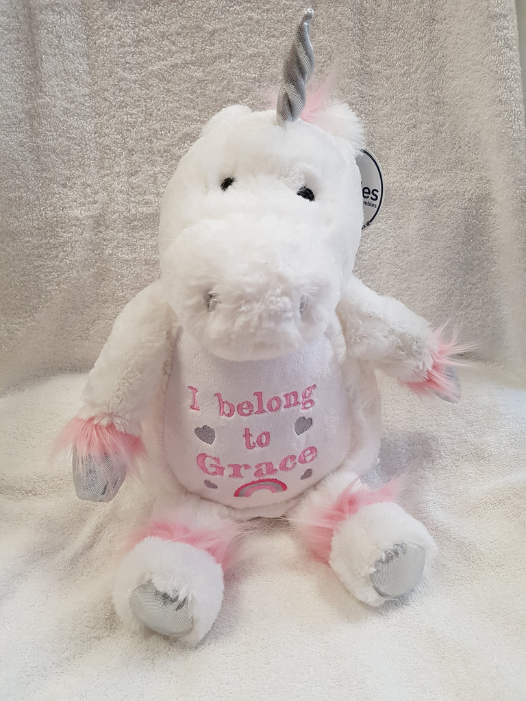 Personalised Unicorn cuddly toy embroidered with a name and short message of your choice