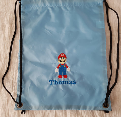 Super Mario drawstring bag with a name gymsac swim pe swim nursery bag