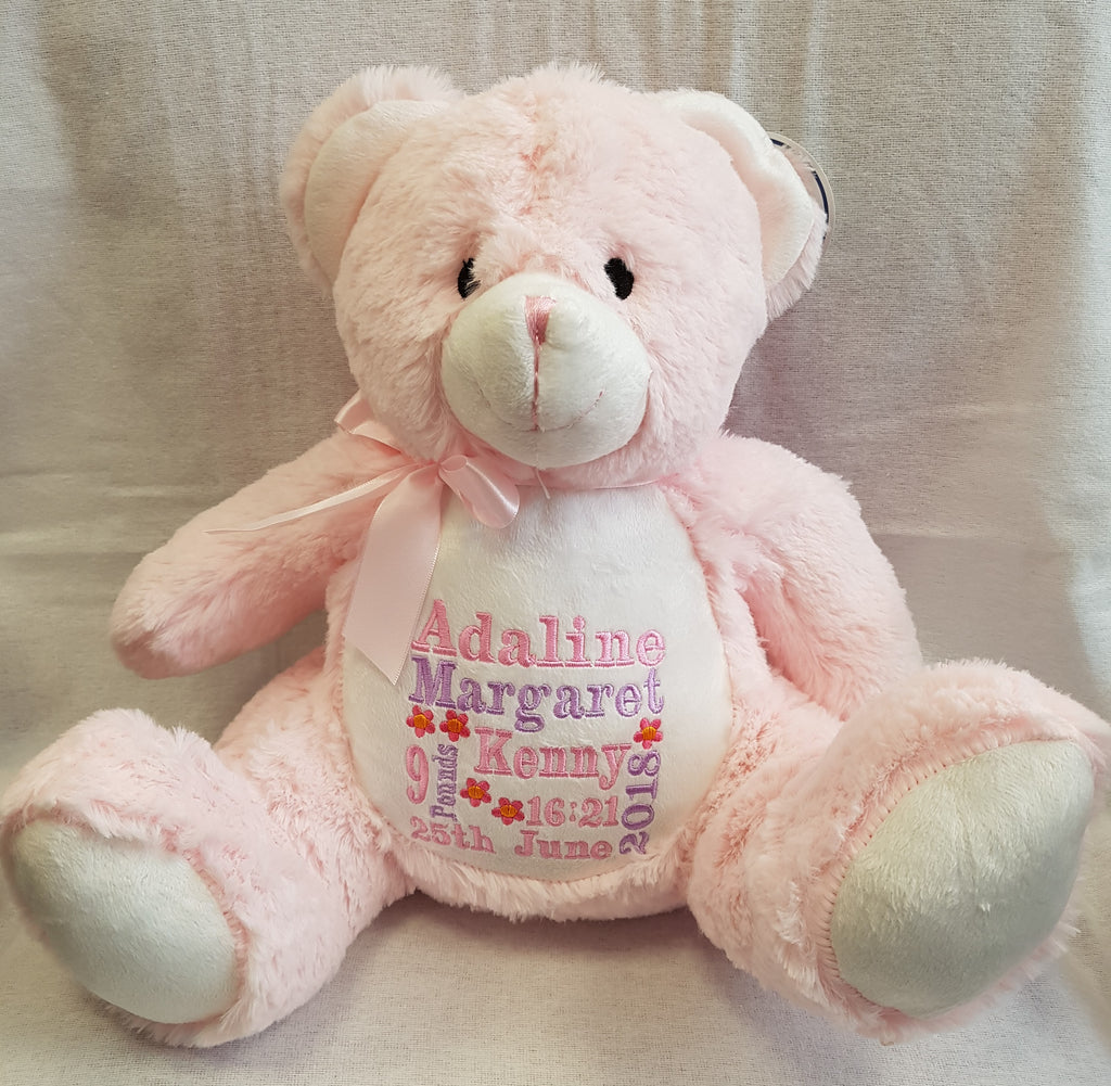 Pink personalised teddy bear embroidered with a name, short message or birth details