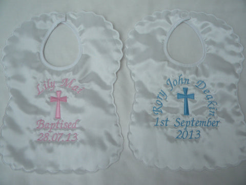 Personalised Satin Christening Bib with large cross